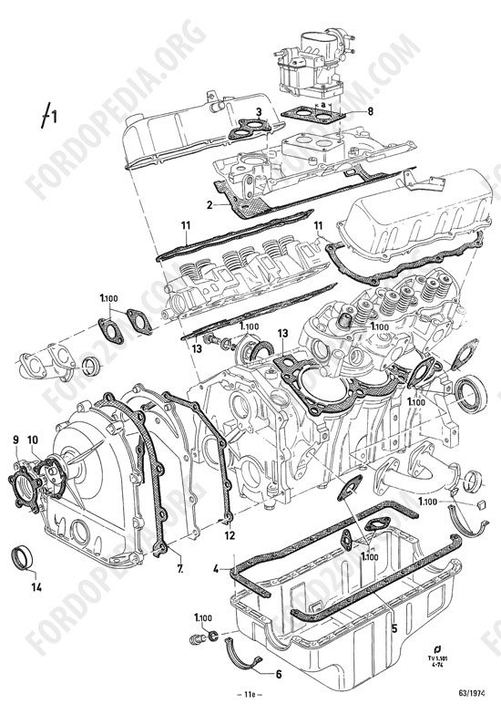 Koeln V4/V6 engines (1962-1974) parts list: TV1.101 ... V4 Engine Diagram