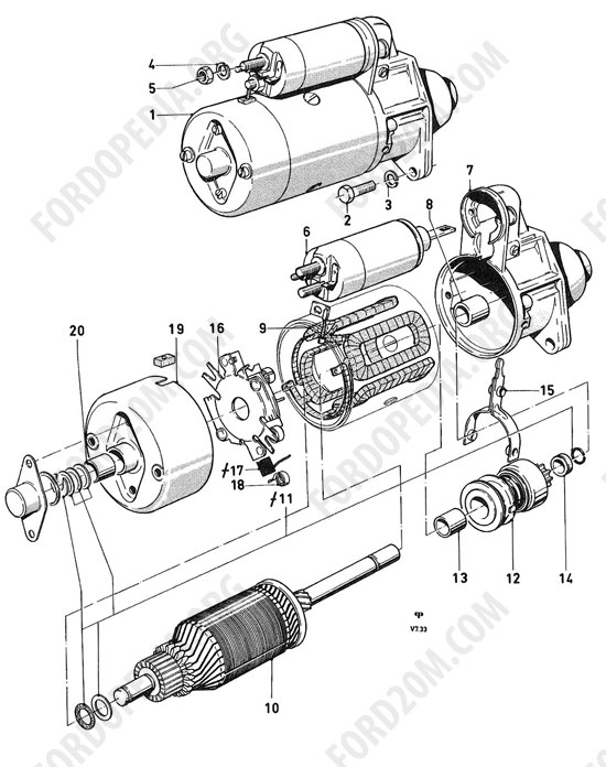 Koeln V4/V6 engines (1962-1974) - Starter motor 1.0 HP