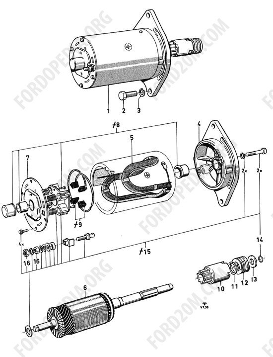 Koeln V4/V6 engines (1962-1974) - Starter motor (Transit, Essex)