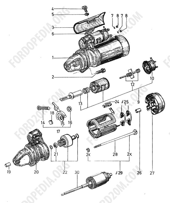 Koeln V4/V6 engines (1962-1974) - Starter motor (Essex) - Lucas