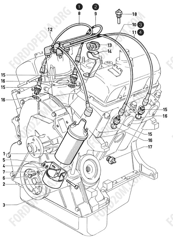 Koeln V4/V6 engines (1962-1974) - Ignition coil, wiring, spark plugs (Essex)