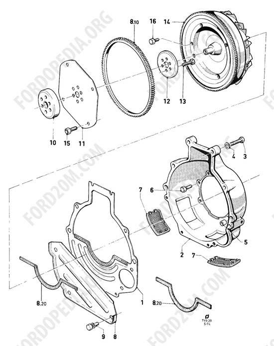 Koeln V4/V6 engines (1962-1974) - Converter housing and converter (Capri -USA/CDN) - Borg Warner