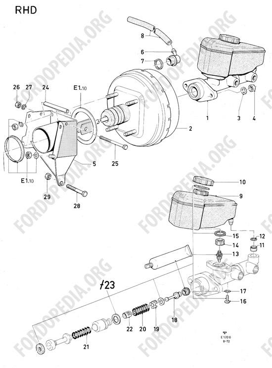 ford consul granada mki (1972 1975) parts list e1 20 master  ford granada vacuum diagram #14
