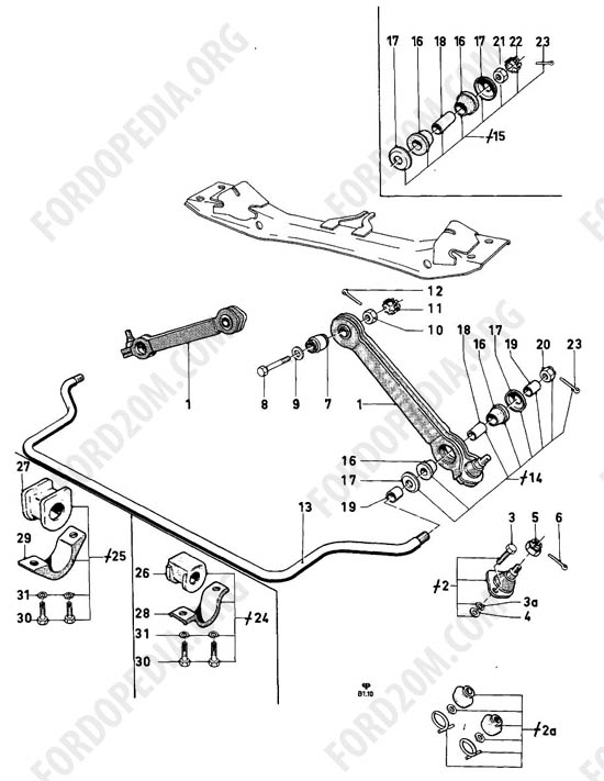 Ford Taunus 17m/20m P5/P7 - Front axle parts - stabilizer