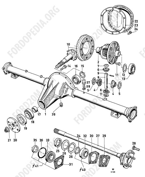 ford taunus 17m  20m p5  p7 parts list  c1 20 - rear axle components