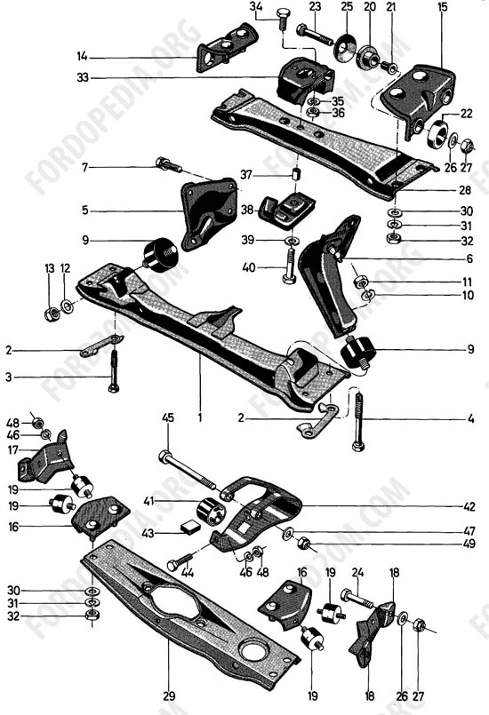 Ford Taunus 17m/20m P5/P7 - Engine and transmission suspension