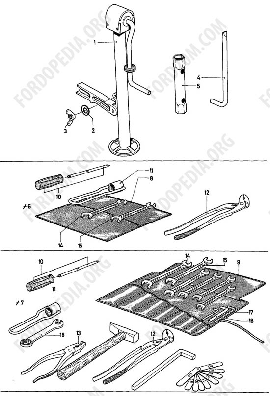 Ford Taunus 17m/20m P5/P7 - Lifting jack, tools
