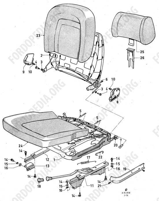 Ford Taunus/Cortina (1970-1975) - Bucket seats without height adjustment