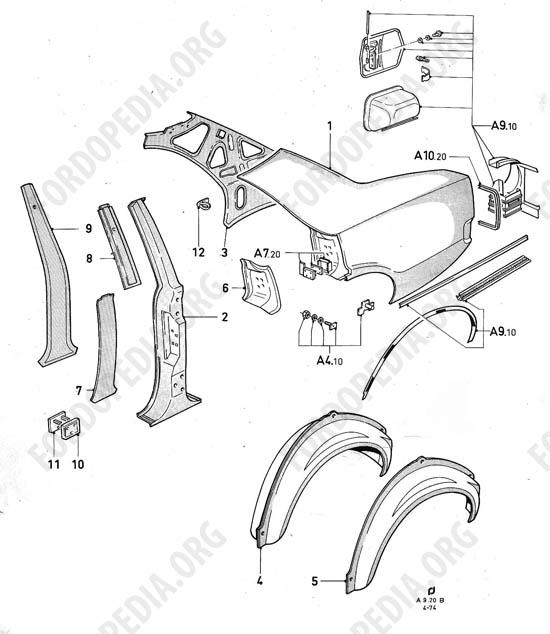 ford taunus  cortina  1970-1975  parts list  a9 20  sedan