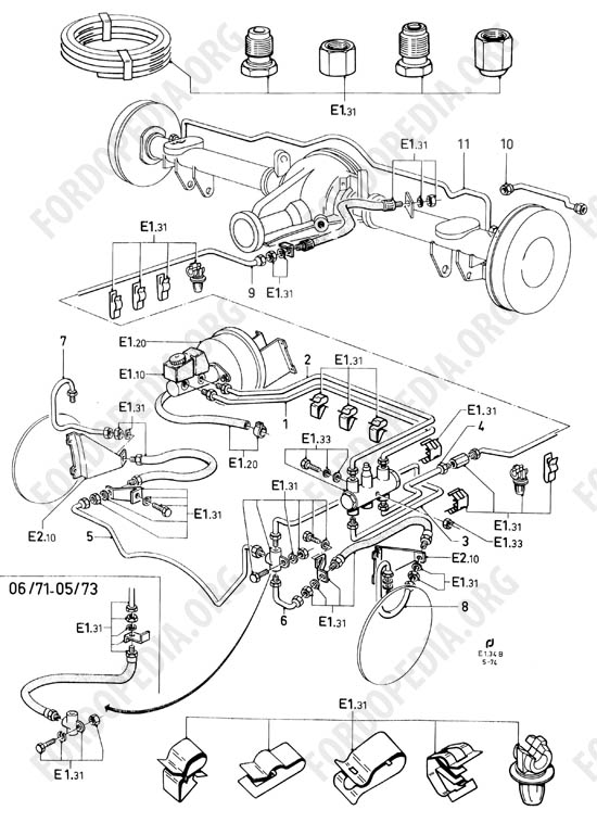 Ford Taunus/Cortina (1970-1975) - Brake pipes without brake vacuum booster and brake pressure differential valve