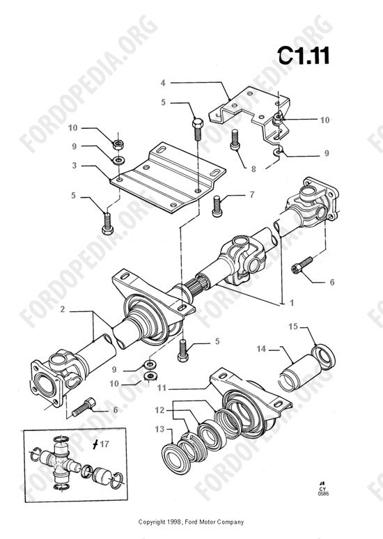 ford transit mkiii  1985-1991  parts list  c1 11 - drive shaft
