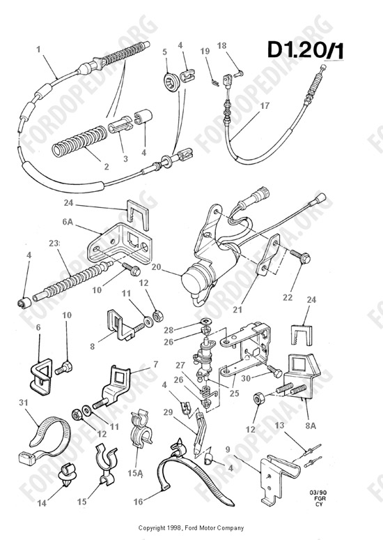 ford transit mkiii  1985-1991  parts list  d1 20  injection pump controls