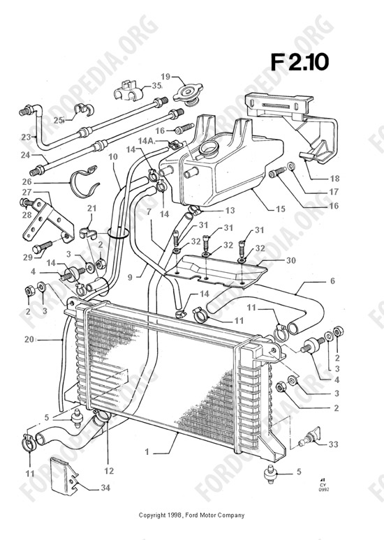 ford radiators hoses diagram  ford  auto parts catalog and diagram
