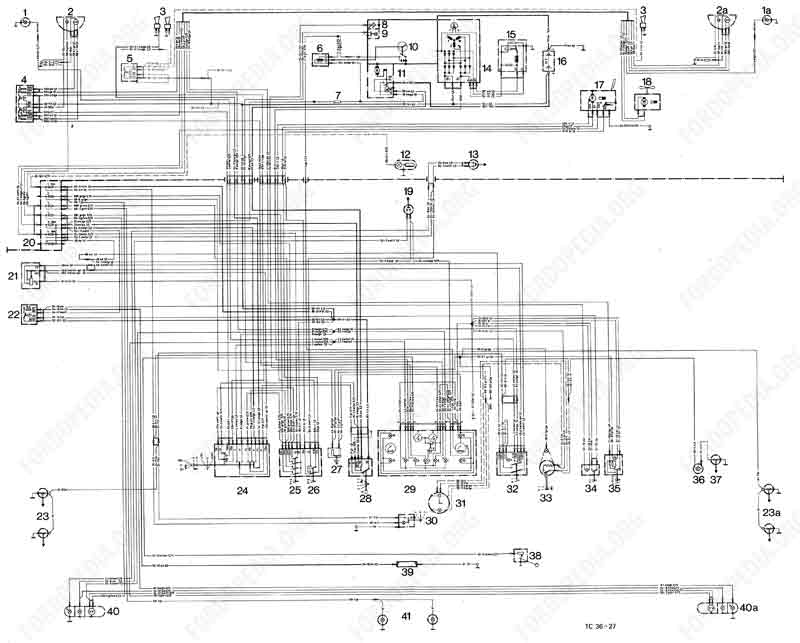 Wiring diagrams: Taunus TC1 / Cortina Mk3 - 08.1973 onwards - XL version, GXL version
