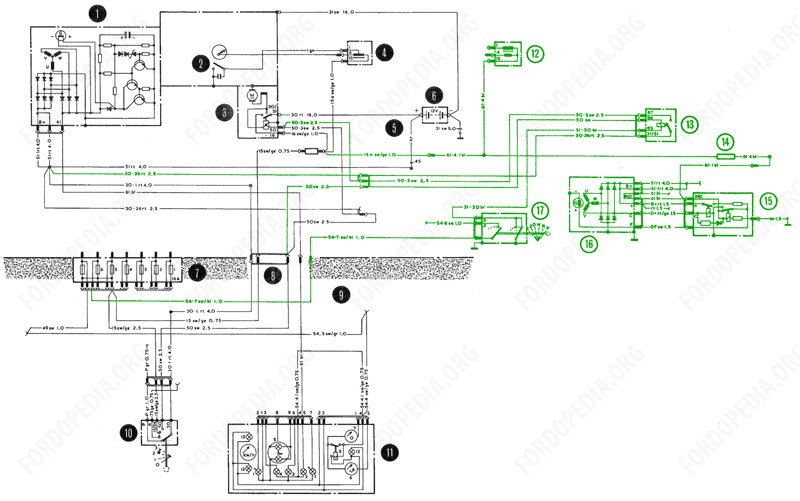 Wiring diagrams: Taunus TC2 / Cortina Mk4 - base version, L version, GL version - charging, starter and ignition circuits