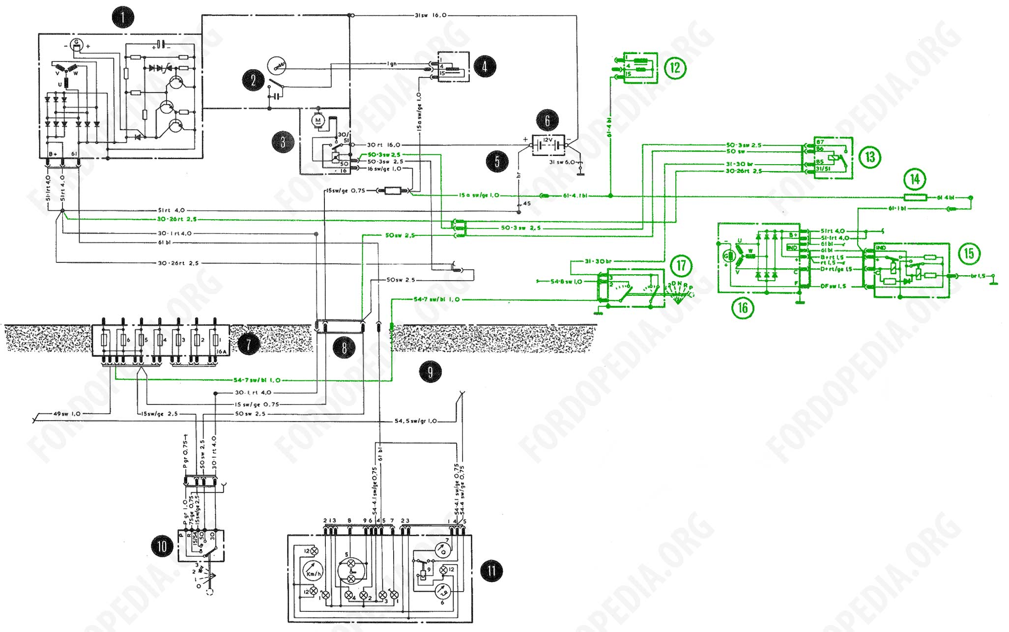 download full-size image (2056x1283, 220 kb) wiring diagrams: taunus tc2 /  cortina mk4 - base version, l version, gl