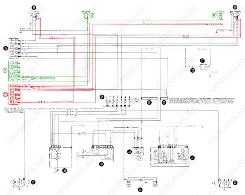 Wiring diagrams: Taunus TC2 / Cortina Mk4 - base version, L version, GL version - exterior lighting