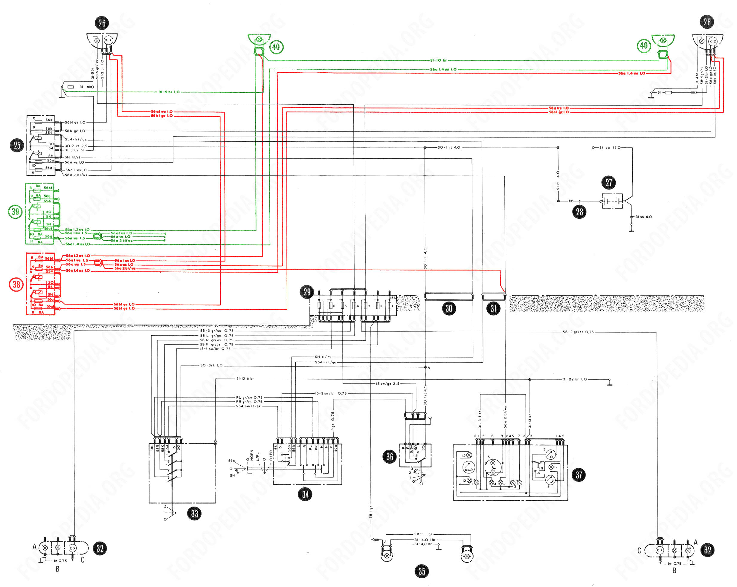 Download full-size image (2465x1964, 548 kB) Wiring diagrams: Taunus TC2 /  Cortina Mk4 - base version, L version, GL