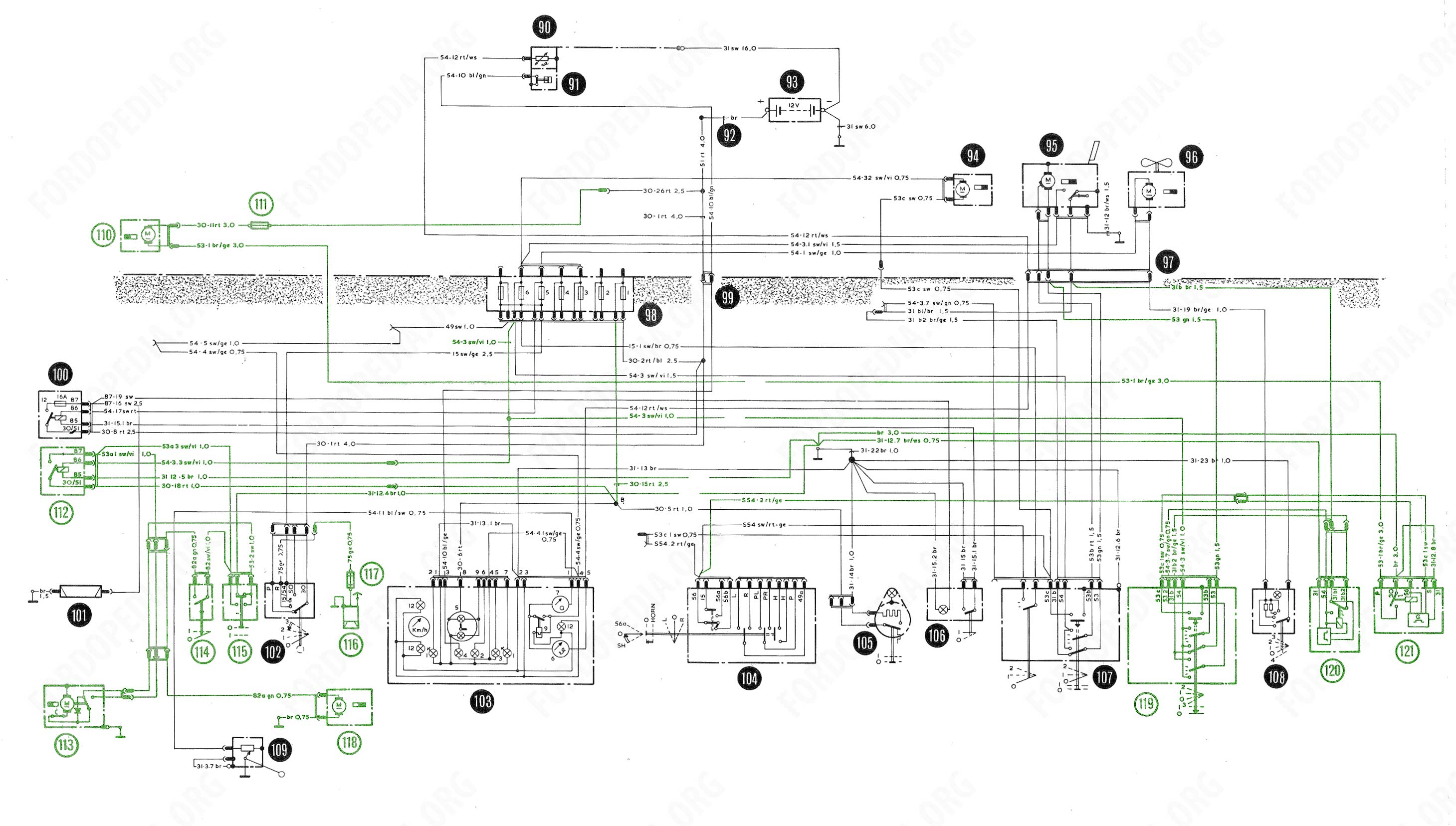 Download full-size image (2919x1656, 412 kB) Wiring diagrams: Taunus TC2 /  Cortina Mk4 - base version, L version, GL