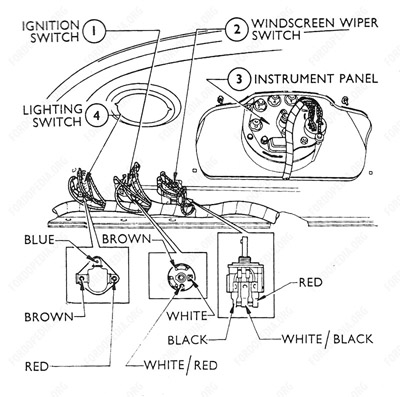 fordopedia 3-Way Switch Light Wiring Diagram instrument panel and switches wiring diagrams
