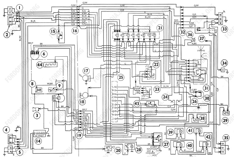 Wiring diagrams: Ford Transit MkI (F.O.B.) (09.1968 to 09.1970) - Wiring diagram (Diesel)